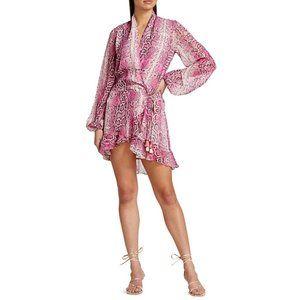NWT Rococo Sand Lexi Snake Print Wrap Mini Dress